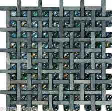 SAMPLE- Green Natural Stone Glass Pattern Tile Wall Floor Kitchen Backsplash Spa