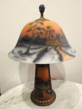 Art glass reverse Painted Antique table lamp Winter Farm Scene lighted base