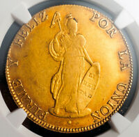 1845, Peru (Republic). Beautiful Large Gold 8 Escudos Coin. (27gm!) NGC AU-53!