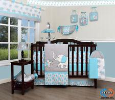 13Pcs Blue Grey Elephant Baby Nursery Crib Bedding Sets Holiday Special