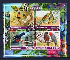 RWANDA 2017 PARROTS LES PERROQUETS BIRDS VOGEL AVES AFRICA FAUNA STAMPS MNH CTO