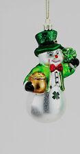 IRISH GLASS  KURT S. ADLER SNOWMAN ORNAMENT...HAND CRAFTED EUROPEAN BL