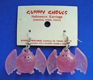Papel Freelance EARRINGS Halloween Vintage BATS Purple GUMMY GHOULS Dangle NEW