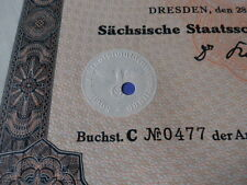 1939 Nazi German Era  Municipal Dresden-10,000 Reichsmark Bond-Swastika Seal
