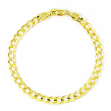"""Real 10K Yellow Gold 6.5mm Cuban Curb Chain Link Bracelet Lobster Clasp 7"""" 8"""" 9"""""""