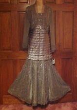 Bnwt FRANK USHER (16/18) Silver Beaded Evening Ballgown & Bolero /Wedding/Cruise
