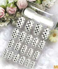 White with Silver Metallic Polka Dots Glue On Full Cover Nails!! 24 Nails!