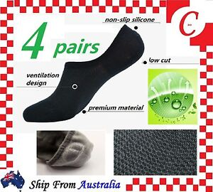 4Pairs NO SHOW BAMBOO SOCKS Non Slip Heel Grip Low Cut Invisible Footlet Bulk