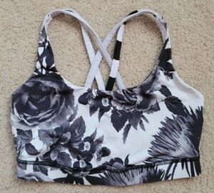Lululemon black and white floral sports bra 8 Women's