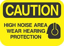 """CAUTION HIGH NOISE AREA  (5 Pack) 3.5"""" x 5"""" Label Sticker Safety Sign Decal"""