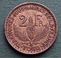 1925 Togo Coin 2 Francs RÉPUBLIQUE FRANÇAISE Aluminium-bronze KM# 3 Rare