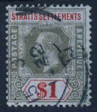 STRAITS SETTLEMENTS King George V 1914 $1 Black & Red/Blue SG 210 VFU