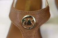 NIB MICHAEL KORS Size 10 Women's Luggage Saffiano Leather MK CHARM THONG Sandal