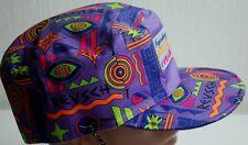 Crazy Elegante Vintage Sombrero Gorra REUSCH ARMY Fiesta Multicolor Nylon Púrpura aleta de oreja