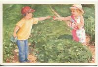VINTAGE STRAWBERRY PICKING FIELD BOY GIRL ARTIST BETTY GIROUX GREETING ART CARD