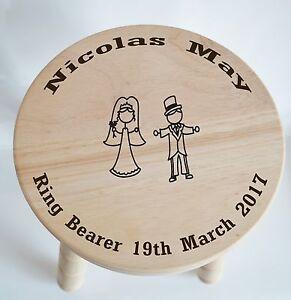 Customised Wooden Milking Stool for Ring Bearer - wedding... free engraving