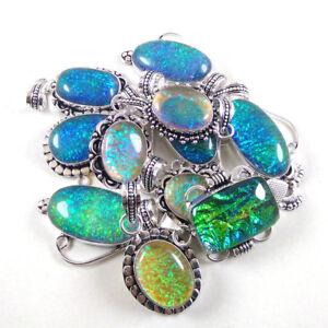 BULK SALE ! 15Pcs Australian Triplet Opal Pendant Lot 925 Sterling Silver Plated