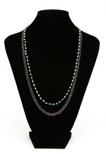 Argento Vivo Turquoise Beaded Gold Long Link Station Necklace 0207