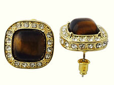 Hip Hop 14K Gold Plated CZ Birdman Brown Tiger Eye Stone Large 20mm Earrings