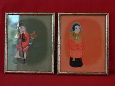 couple de petits chinois en papier et tissus collés peints à la main, 1950