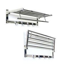 Fold-able Bathroom Towel Shelf Rack Rail With Hooks Foldable Space Saving