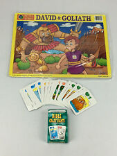 David & Goliath Puzzle and Bible Crazy Eights Playing Cards: Children's Fun Set