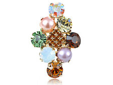 Gold Cluster of Stones Faux Pearl Rhinestone Trendy Adjustable Fashion Ring Gift