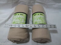 "(2) NEW Lightweight Cream Fleece Throws Blankets approx size 50"" x 60"""
