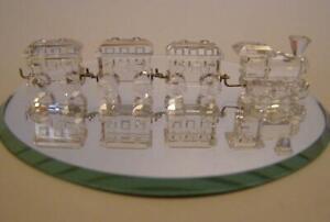 SWAROVSKI CRYSTAL TRAIN SET MINI WITH MIRROR 193014 MINT BOXED RETIRED RARE