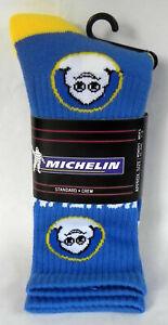 New Pair of Michelin Standard Crew Socks, Bibendum Man, Blue & Yellow, Fuel