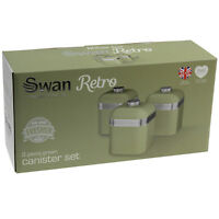 Swan Retro Set of 3 Green Tea Coffee Sugar Spices Herb Canisters Kitchen Storage