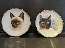 Vgc 2 x miniature bone china decorative cat plates