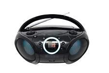 SINGING WOOD CD Boombox Portable/w BT, USB, AUX-Input, and LED Light (Black)