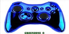 Replacement Chrome Blue Controller Shell + Buttons Mod Kit for Wireless Xbox 360