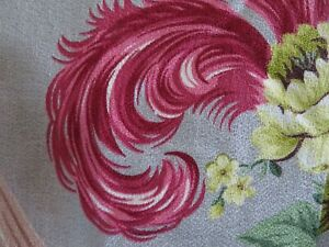 Stunning Vintage SUPER NUBBY Hot PINK PLUMES & Electric Lime ROSES BARKCLOTH