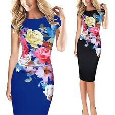 AU Plus Size 5XL Lady Floral Bodycon Cocktail Evening Prom Short Slim Mini Dress