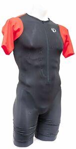 Pearl Izumi ELITE Pursuit Short Sleeve Triathlon Speed Suit Men SMALL Black Red
