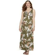 a:glow Maternity Womens Green Floral Sleeveless Maxi Dress Fall Sz S NWT