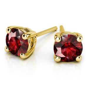 4.00 Ct Natural Round Cut Beautiful Ruby Earrings 14Kt Solid Yellow Gold Studs