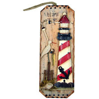 "LIGHTHOUSE WOOD NAUTICAL WALL ART DECOR WALL HANGING PLAQUE ""WELCOME FRIENDS"""