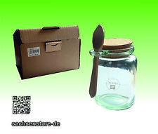 Vorratsglas mit Holzlöffel; Konfitürenglas; Dekoglas - Recyclingglas 200cc