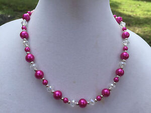 Handmade Necklace of Fuchsia Pink Glass Pearls and Clear Glass Accent Beads