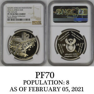 2016 THE DOLOS PF 70 ngc SILVER PROOF 2 rand south africa POP 8 R2