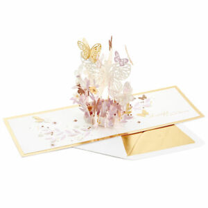 Hallmark Mother's Day Card by Signature ~ POP UP Pink & Gold Tons of Butterflies