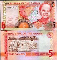 GAMBIA 5 DALASIS ND 2006 (2013) P 25 NEW SIGN UNC LOT 5 PCS
