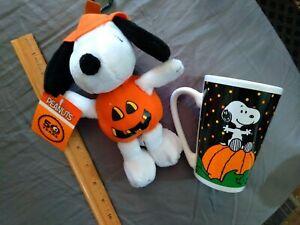 Classic Halloween Snoopy Plush & Great Pumpkin W/ Ceramic Coffee Mug NEW NR