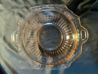 VINTAGE ANTIQUE PINK DEPRESSION GLASS FLORAL PRINT SERVING BOWL W/ HANDLES