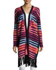 NIP: MARA HOFFMAN Long Striped Cardigan, Multicolor w/ Black Fringes, One Size