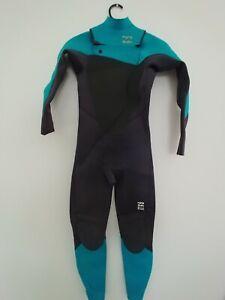 Billabong Foil Boys Size 12 4.3 Wetsuit Winter Steamer Youth Blue Black