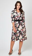 JOE BROWNS Julie DRESS size 14 SPLENDIDA CINTURA IN Floreale Abito lusinghiero